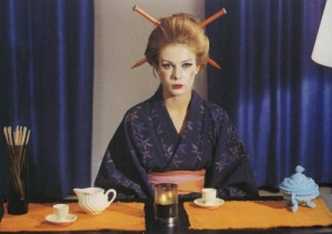 Star Dressed in Kimono with Sticks in Hair