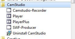 The CamStudio Start menu choices