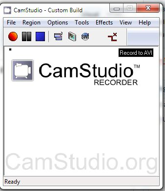 Camstudio main menu