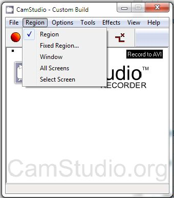 CamStudio Region menu
