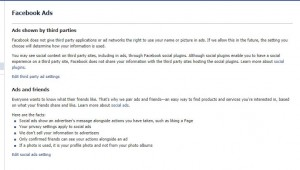 Choose  your Facebook ad settings here.