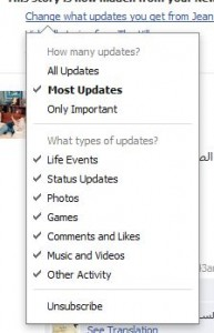 Photo of menu to hide different updates from a Facebook friend.