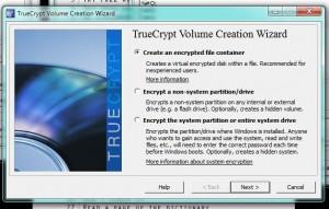 Menu for TrueCrypt