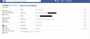 Photo of Facebook general settings